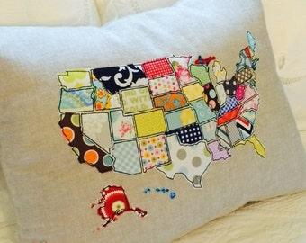 Applique US Map Linen Pillow Cover