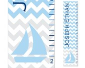 Sailboat Nautical Growth Chart Children Chevron Canvas Growth Chart Personalized Children Blue Gray