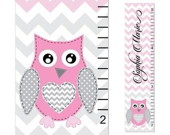 Owl Growth Chart Children Chevron Canvas Growth Chart Personalized Children Pink Gray