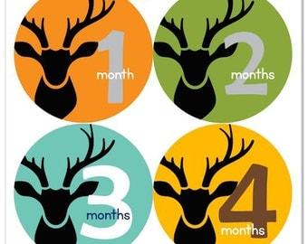 Deer Baby Boy Monthly Sticker Woodland Hunter Hunting Deer Head Silhouette