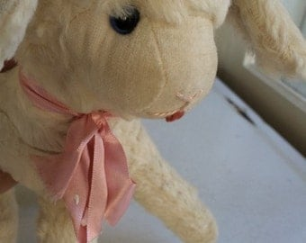 Lamb Stuffed Child's Toy Lambie Pink Bow Baby Shower Vintage
