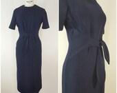 Vintage 1940s Navy Blue Dress / Wool Dress / Tie Waist / Small-Medium