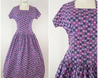 Vintage 1950s Dress / Purple and Pink Squares / Cotton Day Dress / Drop Waist / Junior XS