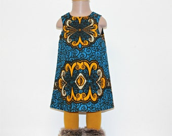 Baby pinafore dress in a  navy blue and yellow large flower African Print