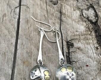 Rustic Drop Earrings | Sterling Silver Rustic Drop Earrings | Boho Earrings