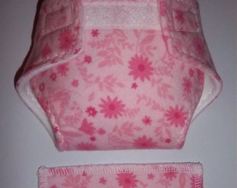 Baby Doll Diaper/wipe - pretty medium and light pink flowers on pink  - See Shop Special - adjustable for many dolls such as bitty baby