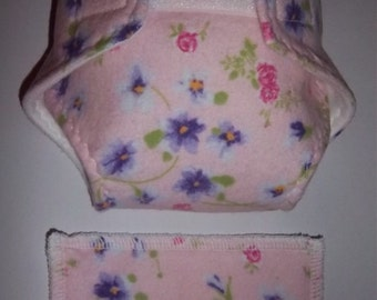 Baby Doll Diaper/wipe - pretty and dainty pink and purple flowers on light pink - adjustable for bitty baby and 15/16 dolls