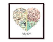 Long Distance Friendship, Heart Map Print, Best Friends, Gift for Friend, Map Art, Best Friend Gift Long Distance, Valentine Gift for Her