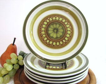 Vintage Retro Mod Acsons SARASOTA Stoneware Salad / Dessert Plates, Set of 5 ... Japan Stoneware Dinnerware, Dishes