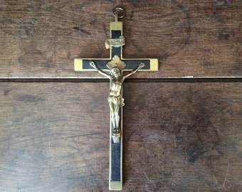Antique French brass and ebony Christ Jesus hanging crucifix circa 1900's / English Shop