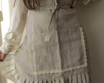 Waist Half Apron with large pocket - farmhouse garden kitchen apron - French country home - oatmeal cotton linen blend Nurdanceyiz