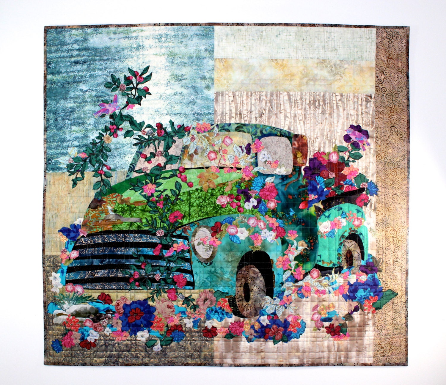 Old Truck Art Quilt Flowers Over Grown Quilted Wall