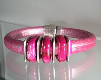 Pink Leather and Hand-Made Porcelain Bead Bracelet