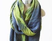 grey and chartreuse scarf, hand dyed wrap, oversized cotton shawl