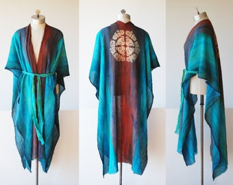 hand painted kimono, cotton robe, ombre blue green orange, sunset colors