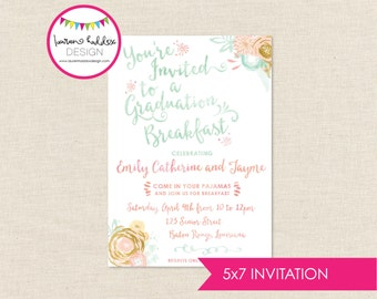 Graduation Breakfast Party Invitation, Graduation Invitation, Breakfast Invitation, Watercolor Gradation Invitation, Lauren Haddox Designs