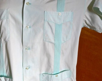 Fab Vintage Men's Pale Blue Guayabera Shirt 60s Cab Brand Made in Mexico