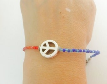 Peace Sign patriotic Bracelet, red/white /blue beaded, layering, turquoise, handmade, item no H014