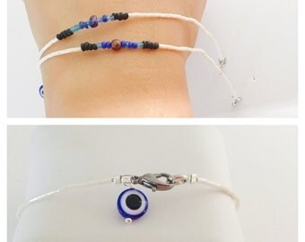 Layering Bracelet, native inspired , beaded, white beads, evil eye, Hand Made in The USA, Item No. H018