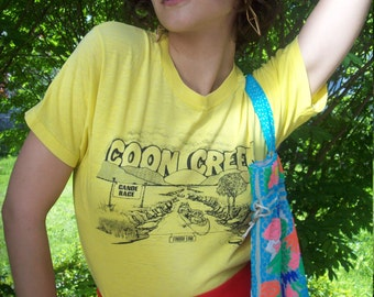 Vintage distressed Yellow T-Shirt, Coon Creek Canoe Race Tee, Funny T-Shirt