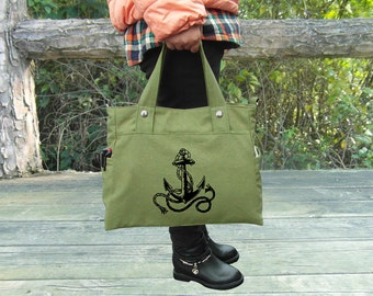 Custom screen print grass green canvas hand bag / tote bag / messenger bag / laptop bag / brief case