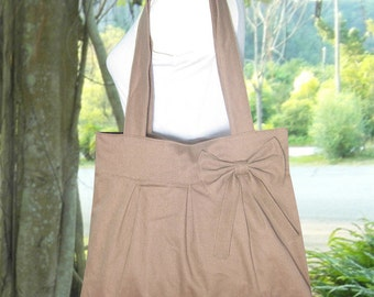 pale brown cotton fabric purse with bow / canvas tote bag / shoulder bag / hand bag / diaper bag - zipper closure