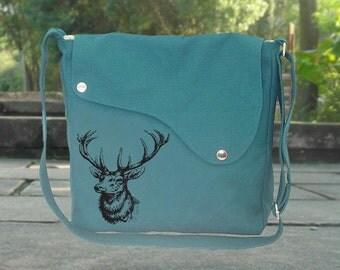 Teal green canvas messenger bag with deer screenprint, crossbody bag, shuolder bag, sling bag, diaper bag, women's bag