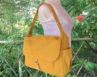 Fathers Day Sale 10% off Golden canvas messenger bag, school bag, travel bag, womens purse, shoulder bags for women