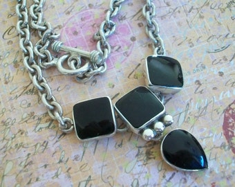 Sterling silver and onyx necklace, sterling chain , 925 and onyx necklace, silver choker, silver link, 925 jewelry, pendant, modernist