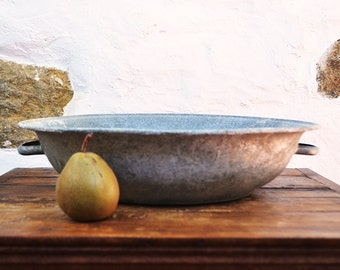 French low Basin Zinc Galvanized bowl with handles