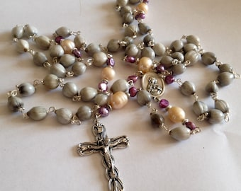 Catholic Rosary,Imfibinga, Jobs Tears, Prayer Beads, Rosary Necklace, Catholic Gift, 5 decade