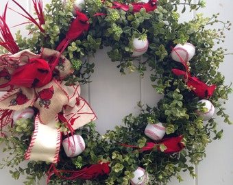 Red Cardinal-St Louis-Cardinals Wreath-Baseball -Redbirds-Sports Decoration-Louisville Cardinals-Baseball-Christmas Cardinal-Busch Stadium