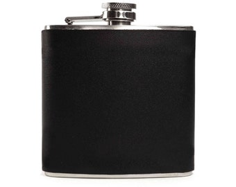 Black Leather Flask for Men, Flask for Women, Mens Flask, Womens Flask, Hipster Flask 6oz Hip Flask