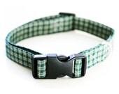 "Highlands Green Plaid Rustic Adjustable Dog Collar - Large 15""-25"""