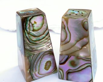 Vintage Abalone Salt And Pepper Shakers Shell Covered Wood Bases With Cork Stoppers
