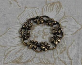 LuxeOrnaments Oxidized Brass Filigree Ivy Wreath Focal Frame (Qty 1) S-3377-B