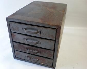 Vintage Little Metal Set of Drawers Industrial Storage Cabinet