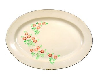 Vintage Japanese Dinnerware Serving Platter Hand Painted in Japan with Red Flowers Silver Trim