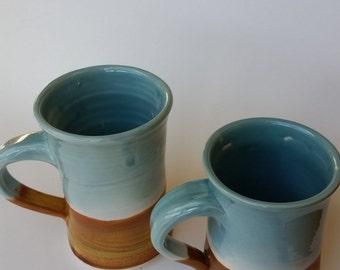 Pottery mugs blue and gold big and small drinkware kitchen decor  soft blue and brown like a day at the beach