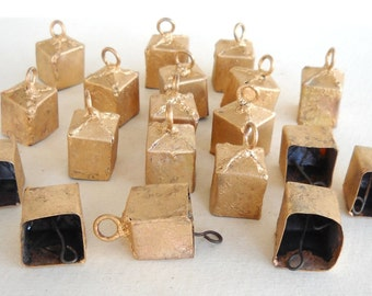 25% OFF - 50 Unique Golden Colored Hand Made Square Shaped Cow Bells for Wind Chimes, Altered Art -with Jute Rope - DIY - MV140