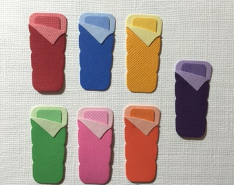 7 Sleeping Bag Embellishment Die Cuts for Scrapbooking Cards and Paper Crafts Camping Bags