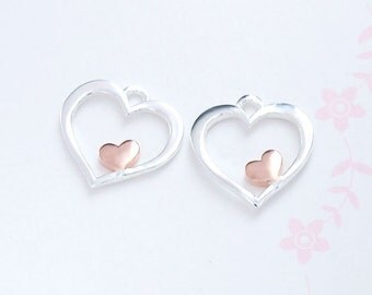 2 of 925 Sterling Silver Heart Charms 11mm. Two Tone Rose Gold & Silver .  :tm0145