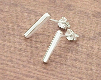 1 pair of 925 Sterling Silver Tiny Rectangle Stick  Stud Earrings 2x12mm., Polish finished  :er0974