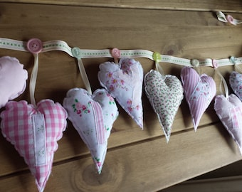 Personalised Appliquéd Heart Garland with Buttons