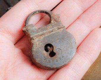 Antique miniature, small brass padlock, original dark patina.
