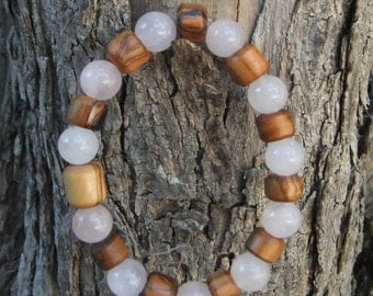 Olive Wood & Rose Quartz bracelet