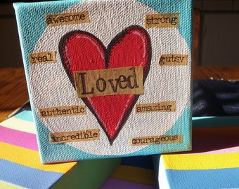 4 x 4 Canvas Collection Heart Art Encouragement Art Turquoise Red Heart Word Art