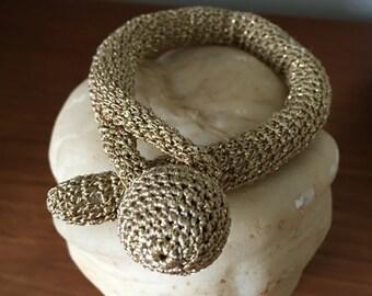 Gold Crochet Bracelet Hand Made Jewelry