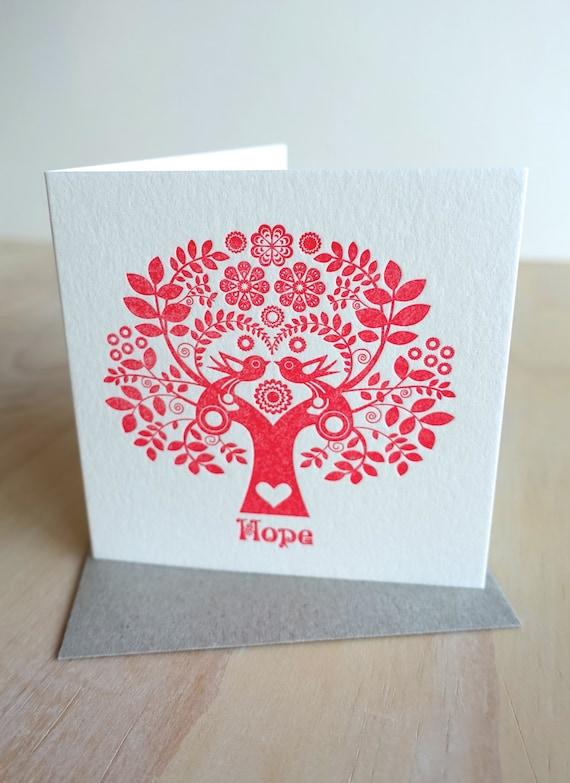 "Letterpress Christmas Card Scandinavian Folk Style Red Tree of Life ""Hope"" red tree, scandi, retro, love birds"
