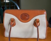 Vintage Dooney Bourke Satchel Handbag Shoulder Purse Bone British Tan R729
